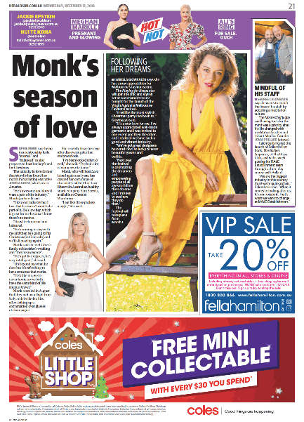 HERALD SUN - MONK'S SEASON OF LOVE (BITES...)