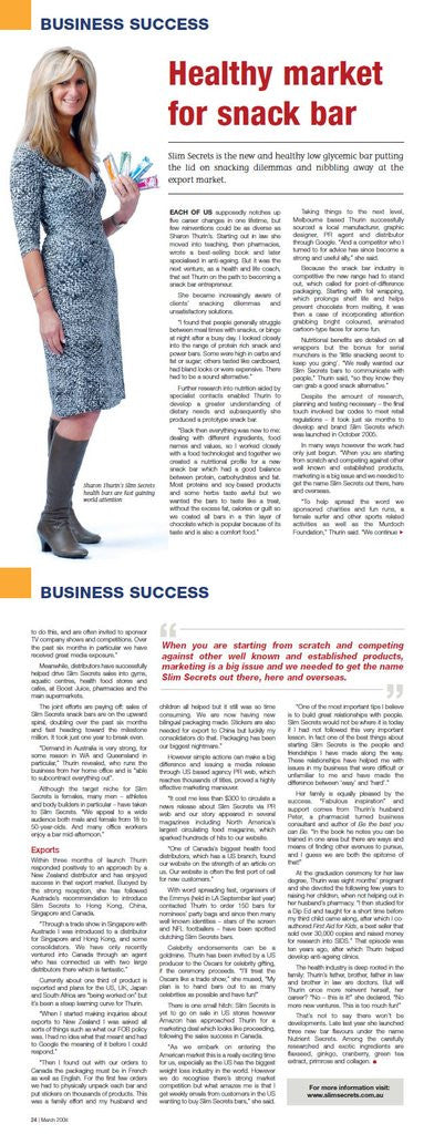 My Business: The story behind Slim Secrets - March 2008