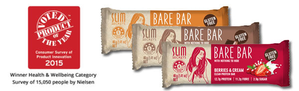 Slim Secrets Bare Bars - award winning gluten free clean protein bars