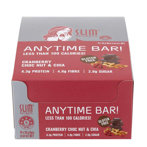 Anytime Bar! Less Than 100 Calories – Cranberry Choc Nut & Chia Box Closed