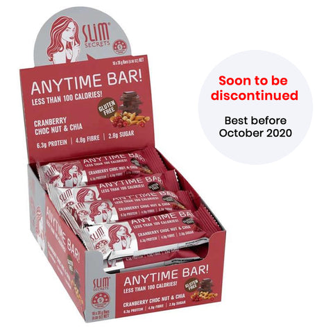 Anytime Bar! Less Than 100 Calories – Cranberry Choc Nut & Chia - Best before Oct 2020