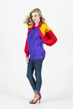 Vintage 80s Silk Colorblock Windbreaker Sz XL