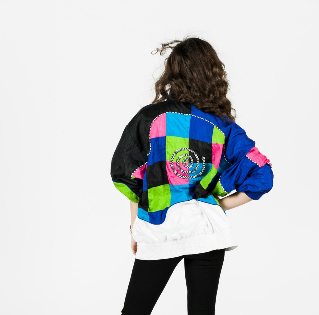 Vintage 90s Multi-Color Geometric Windbreaker Sz L