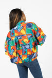 Vintage 90s Silk Multi-Color Geometric Jacket Sz XL