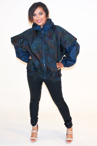 Vintage 90s Green & Blue Quilted Windbreaker Sz M