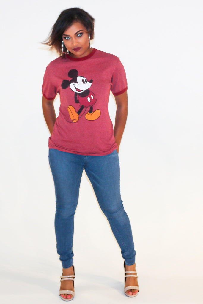 "Vintage 90s Mickey Mouse ""50-50"" T-Shirt"