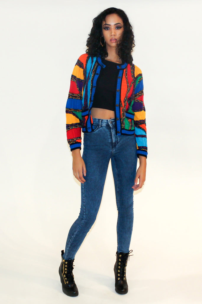 Vintage Coogi Multi-Color Cropped Cardigan Sz S