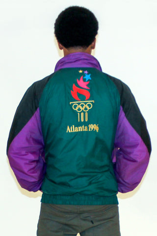 Vintage 80s Green Baroque Windbreaker Sz M