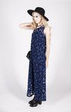Vintage Blue Floral Sleeveless Maxi Dress Sz M
