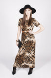 Vintage Brown Animal Print Maxi Dress Sz M