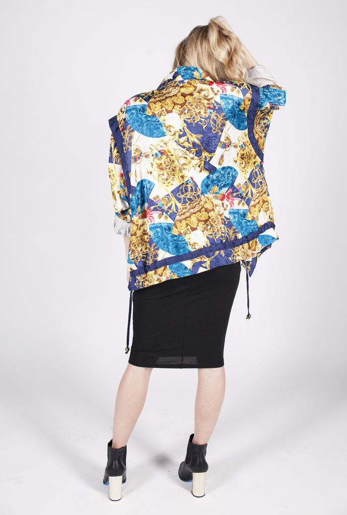 Vintage 90s Silk Baroque Windbreaker Sz L