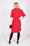 Vintage 80s Red Belted Dress Sz 6