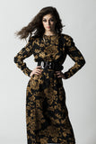 Vintage Oscar de la Renta Studio Black & Gold Silk Floral Dress Sz 10