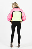 Vintage 90s Hotdogger Neon Green and Pink Colorblock Windbreaker Sz S