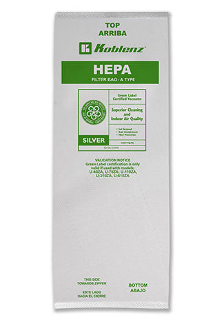 "Koblenz ""A"" Type HEPA disposable paper bags"