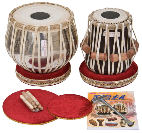 Tabla Set by Vijay Vhatkar, Concert Quality, 2.5Kg Chromed Brass Bayan, Sheesham Tabla Dayan, Book, Hammer, Cushions, Cover, Tabla Drums Musical Instrument (SM-BBE)
