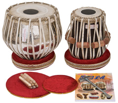Tabla Drum Set by Vijay Vhatkar, In USA, 4KG Chromed Copper Bayan, Finest Sheesham Dayan, Tabla Drums - Padded Bag, Hammer, Cushions & Cover (SM-BBD)