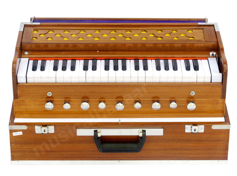 SANSKRITI MUSICALS Folding Harmonium - 9 Stop - Natural Color Safri - AHH