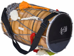 SANSKRITI MUSICALS Dhol Drum, Professional, Kachha Pakka Shesham Wood, Natural, Padded Bag, Beaters, Nylon Shoulder Strap, Punjabi Bhangra Dhol Instrument (SM-DCE)