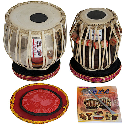 Tabla Drum Set by Vijay Vhatkar, 4KG Chromed Brass Bayan, Finest Sheesham Dayan, Tabla Drums - Padded Bag, Hammer, Cushions & Cover (SM-BBB)