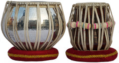 AKBAR MIAN & BROS Copper Tabla Set, 3.5 Kg Copper Bayan, Finest Dayan with Padded Bag, Book, Hammer, Cushions & Cover (SM-BFA)