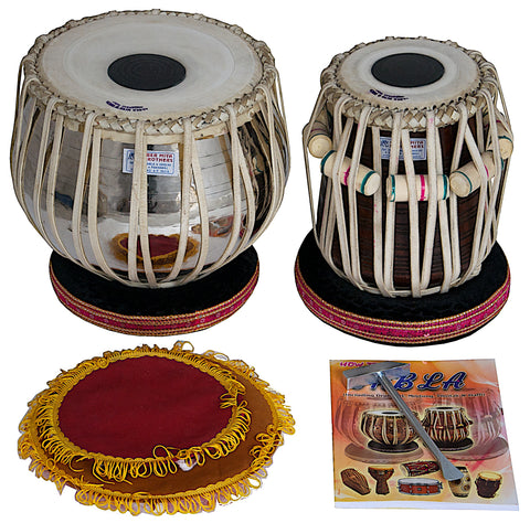 AKBAR MIAN & BROS Standard Tabla Set, 3 Kg Brass Bayan, Finest Dayan with Padded Bag, Book, Hammer, Cushions & Cover (SM-BFJ)