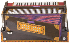 SANSKRITI MUSICALS Calcutta Harmonium No. 6200tn - Buy 3 Reed, 9 Scale Changer - 3¾ Octave - With Coupler, with Book & Bag - Tuned to A440, Dark Walnut Color - BGH