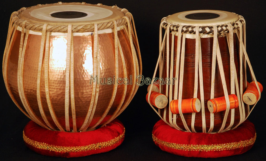 SANSKRITI MUSICALS EXTRA HEAVY LACQUER POLISH COPPER TABLA SET 5½KG - COPPER BAYAN, SHEESHAM DAYAN - BJJ MODEL