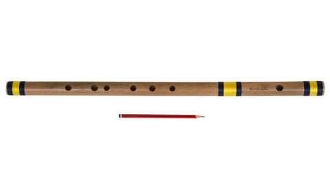 Bansuri Indian Flute, Sarfuddin, Bamboo, Scale A Natural Bass 23.5 Inches, Concert Quality, Fully Tuned, Nylon Pipe Bag Included, Hundustani Bansuri (PDI-DEA)