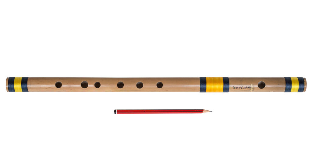 Bansuri, Indian Bamboo Flute, Scale C Natural Medium 19 Inches, Sarfuddin, Concert Quality, Accurately Tuned, Recommended for Beginners, Hindustani Prof. Bansuri Indian Flute, Nylon Pipe Bag (PDI-DEH)
