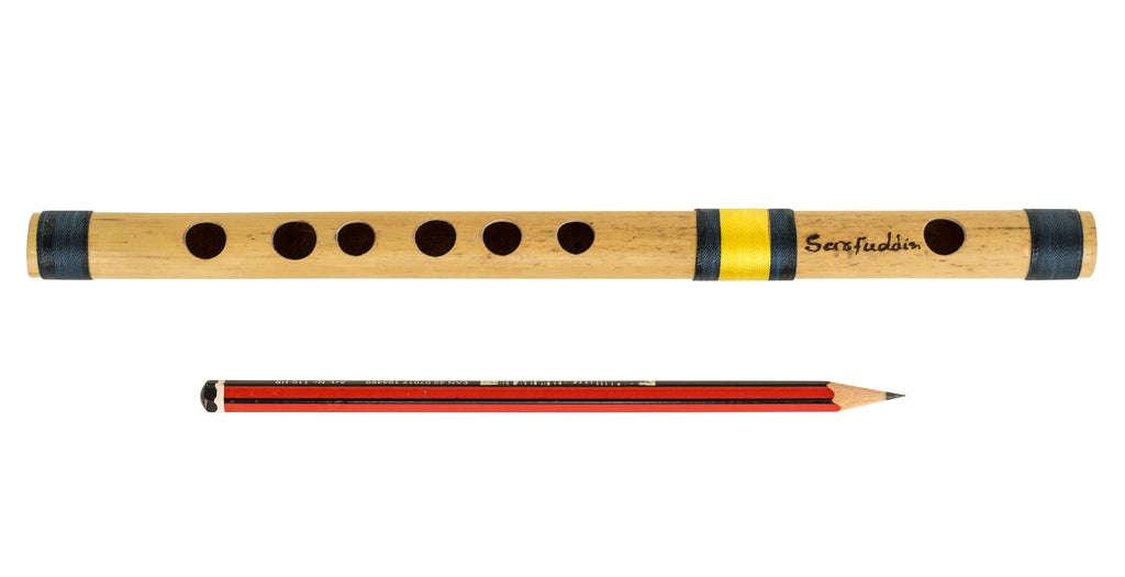 Bansuri Indian Flute, Scale C Natural Small 9.5 Inches, Concert Quality, Sarfuddin, Tuned Professional Bansuri, Nylon Pipe Bag Included, Bamboo Flute, Hindustani (SM-DEI)