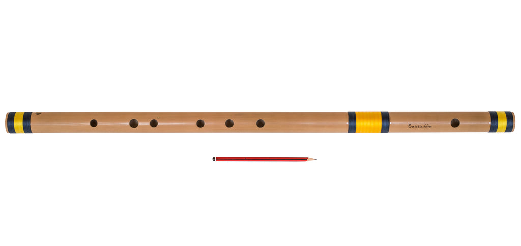 Sarfuddin Bansuri Flute Indian, Scale D Sharp Bass 30.5 Inches, Bamboo, Concert Quality, Finest Indian Flute - Correctly Tuned , Includes Nylon Bag, Hindustani Bansuri (SM-DFE)