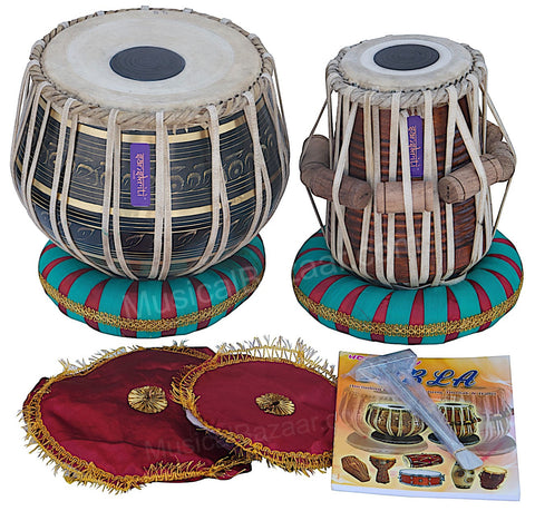 SANSKRITI MUSICALS Tabla Set -Black Brass Bayan 3 KG - Sheesham Dayan - EA