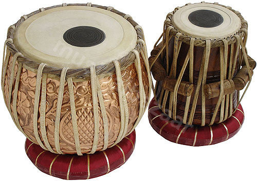 SANSKRITI MUSICALS Designer Copper Tabla Set - 3 KG Copper Bayan - Sheesham Dayan - EB