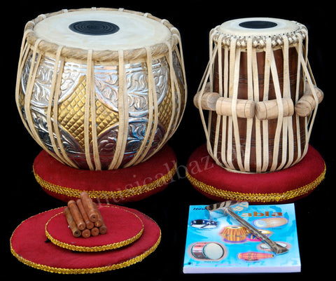 SANSKRITI MUSICALS Tabla Set - Twin Color Brass Bayan 3 KG - Sheesham Dayan - FD