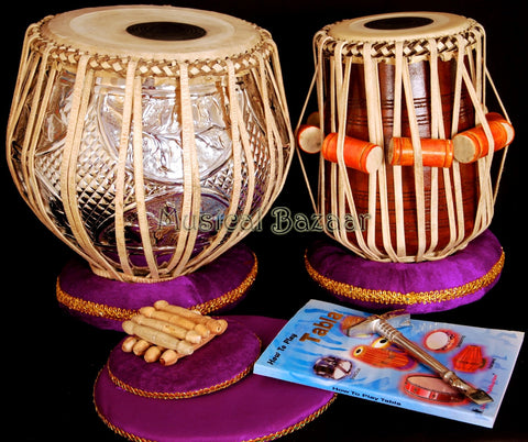 SANSKRITI MUSICALS Designer Tabla Set - Copper Bayan 4.5 KG - Sheesham Dayan - FI