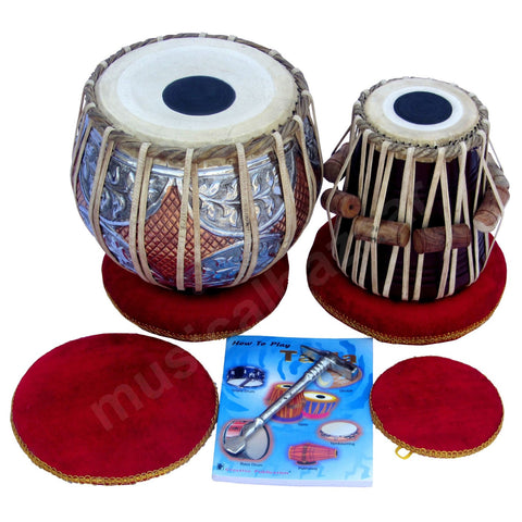 SANSKRITI MUSICALS Tabla Set - Twin Color Copper Bayan 4.5 KG - Sheesham Dayan - GJ