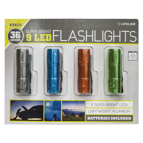 Lifeline Aluminum Bright Flashlight (4-pack)