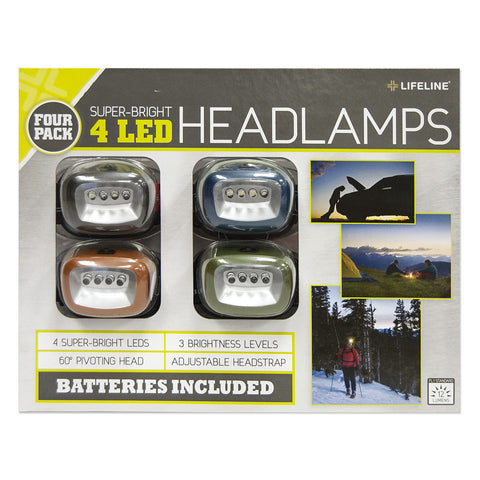 Lifeline 4-LED Headlamps (4-pack)