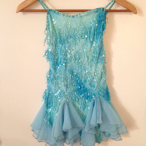 Blue Flowing Sequined Contemporary and Lyrical Costume