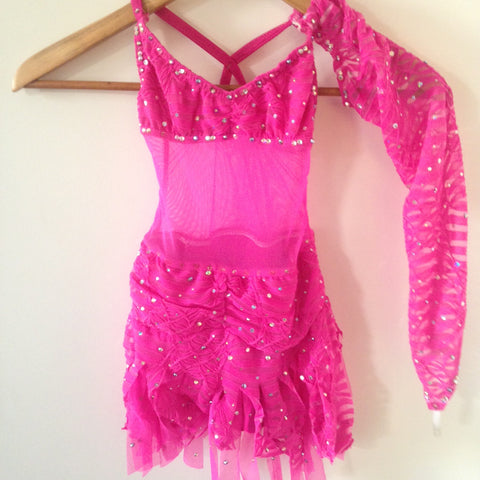 Children's Pink Rhinestone and Lace Competition Costume