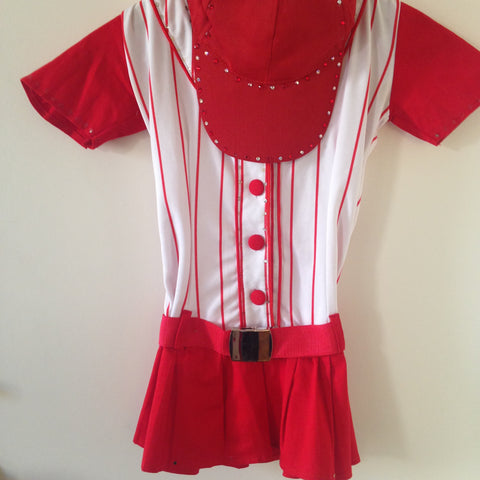 "Girls Baseball Costume With Rhinestones ""National Pastime"""