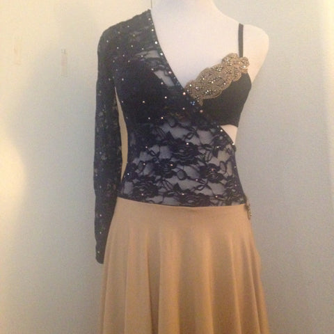 Lyrical Navy Lace and Gold Competition Costume