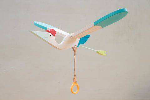 Wood Mobile Baby Bird from Eguchi