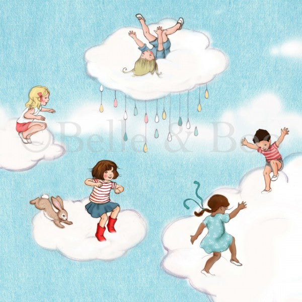 Cloud Jumping Art print by Belle & Boo