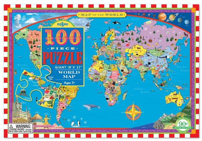 WORLD MAP 100PC PUZZLE, BY EEBOO