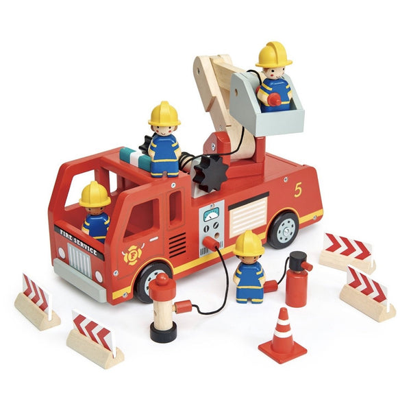 Tenderleaf Fire Engine Playset with 4 Firefighters (movable parts)