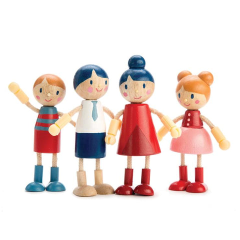 Tenderleaf Doll Family of 4 (with Flexible Arms & Legs)