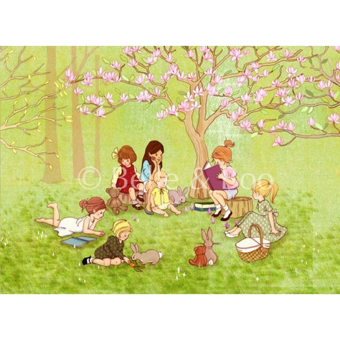 The Reading Group Art print by Belle & Boo