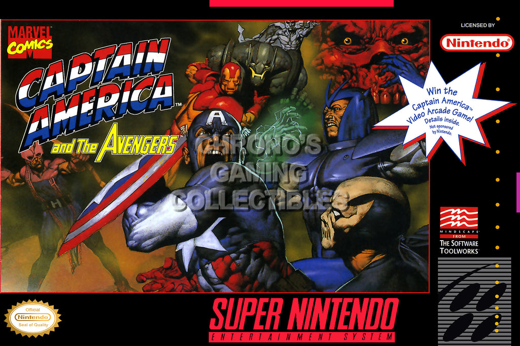CGC Huge Poster - Captain American and the Avengers BOX ART Nintendo Super NES SNES - SNE55 Classic SNES